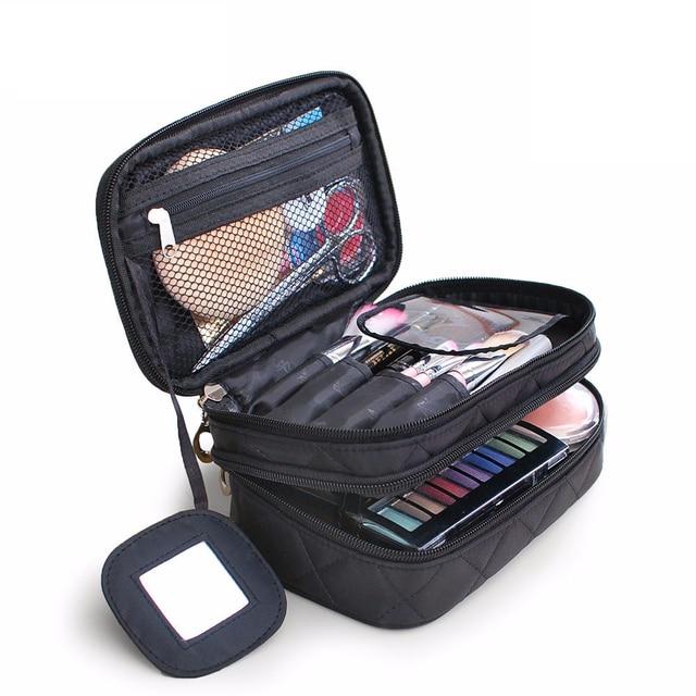 eef105a35 2018 viaje moda bolso cosmético de Color sólido mujer impermeable  maquillaje organizador de la belleza doble