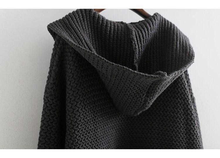 Grey À Mode Femme Manches De Dark Longues Capuche Poche Tricoté Cardigan eam 2019 Printemps Pull Fendue Nouveau Lâche Bl814 Décontracté Commune YBnqRxC