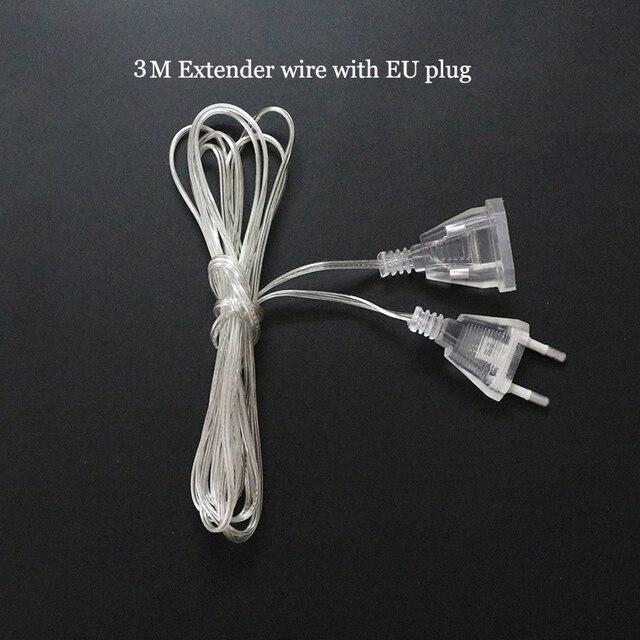 wholesale 3m extender transparent wire eu plugus plug for led string christmas lights garden