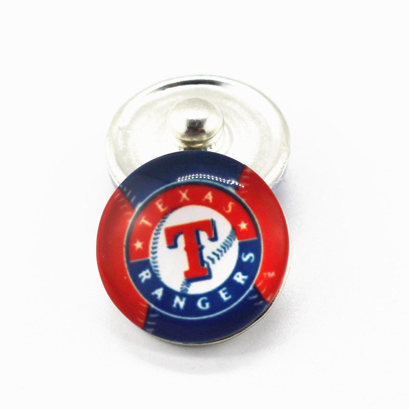 10pcs lot sports snap button MLB Texas Rangers baseball Team 18mm glass snap charms for snap
