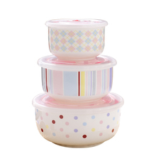 3PCS Retain Freshness Bowl Ceramic Bowl Box Sealed with microwave oven Box Lunch Salad Fruit Bowls w/Cover Dinnerware Holder