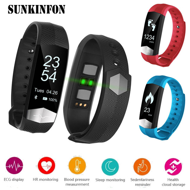 CD01 ECG Blood Pressure Monitor Bluetooth Smart Wristband Sport Fitness Smart Band Bracelet Tracker for iPhone 6 5S 5C 5 SE 4 4S