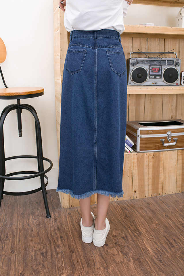 7c8ad4bcf7bb ... Summer Women jean skirt high waist vintage casual long pencil denim  skirt Fashion Tassel women skirts ...
