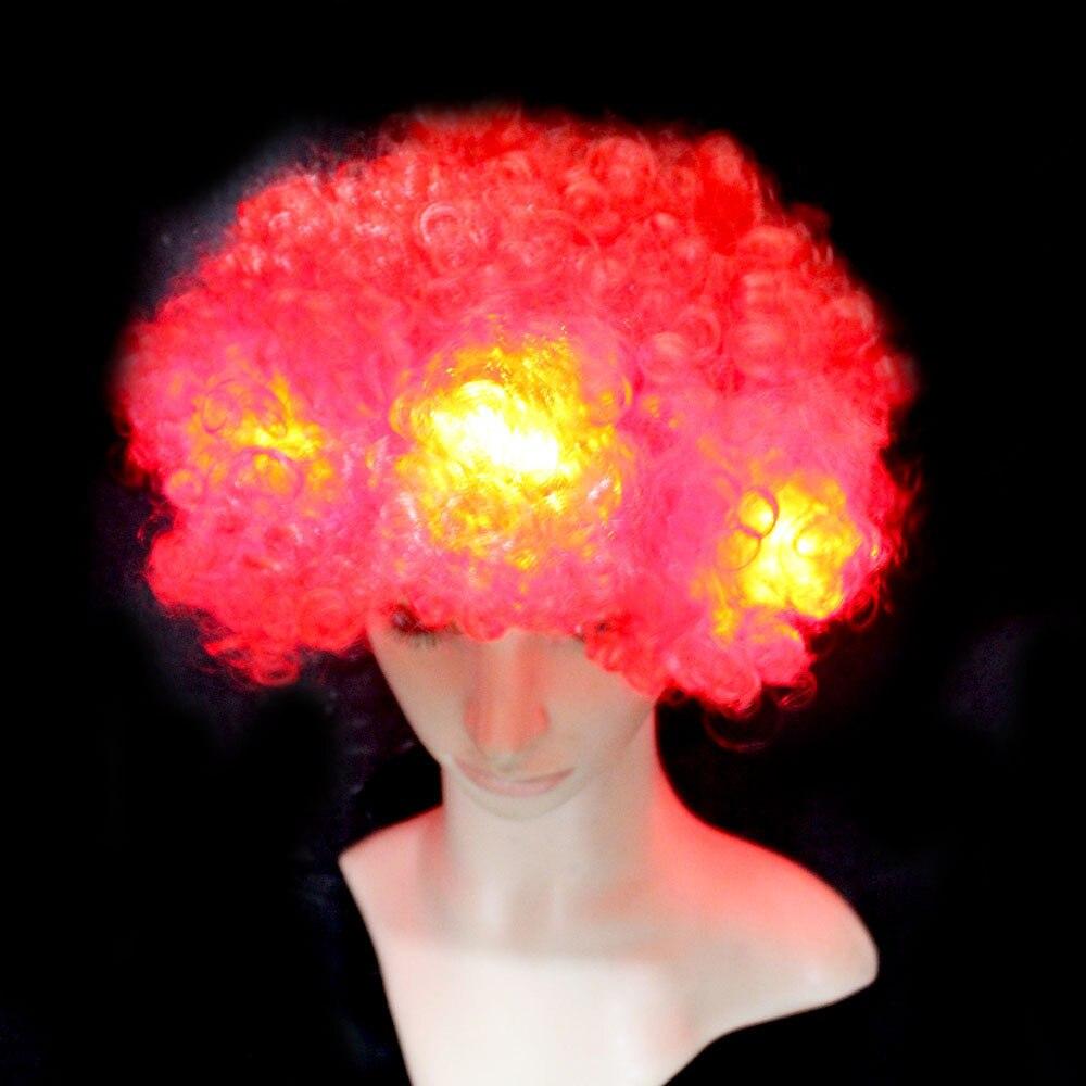 Led свадебное платье черный/синий/фиолетовый косплей вечерние декоративные светодиодные лампочки Парики мужские женские универсальные искусственные осветительные волосы