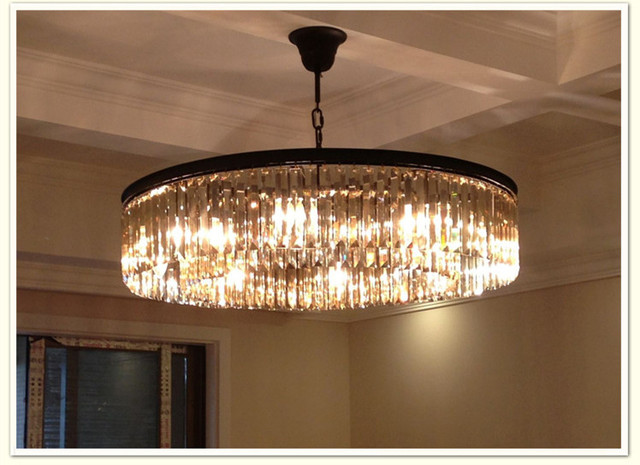 Round Lamps American Country Style K9 Lights Crystal Chandelier Bedroom Lamp Hall Luxury 100
