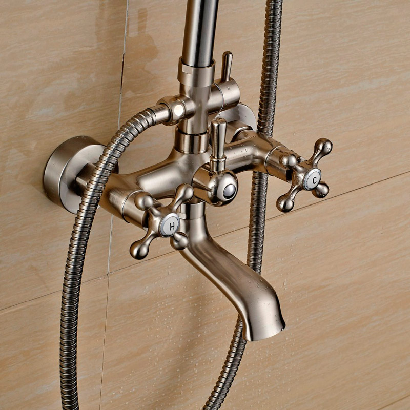brushed nickel shower faucet set. Brushed Nickel Shower Set Faucet Wall Mount Dual Cross Handles 8  Rain Mixers with Handshower Swive Tub Watering Can in Faucets from Home