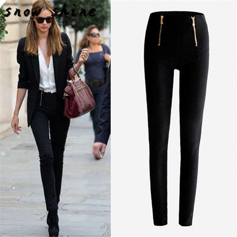 snowshine  #3001  Lady Zip Pencil Pants High Waisted Slim Stretch Leggings Trousers Pants free shipping