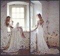 Скидка Casamento Кружева Люкс Свадебные Платья Платья Для Женщин Спинки Белый Сборную Рукава 2016 Старинные Свадебные Платья Свадебные Платья