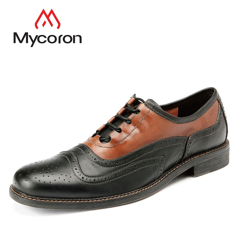 Mycoron Leather Brogue Mens Flats Shoes Casual British Style Men Fashion Brand Dress Shoes For Handmade Men Leather Shoes ege brand fashion men causal shoes genuine leather fashion elastic band male flats breathable british style shoes for men