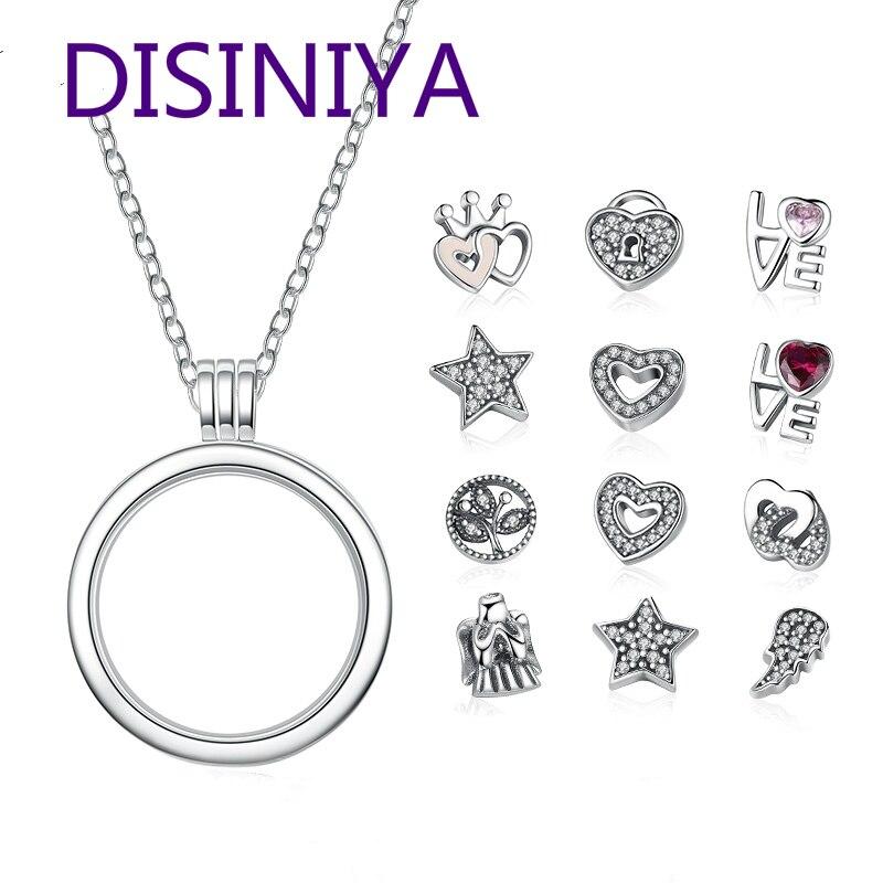 DISINIYA  Genuine 925 Sterling Silver Medium Petite Memories Floating Locket Necklaces & Pendants Jewelry PSF001