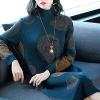 2018 New Autumn Winter Knit Dress Women's Long section Turtleneck Female Long Sleeve Bottoming Wool Sweater Dress X116
