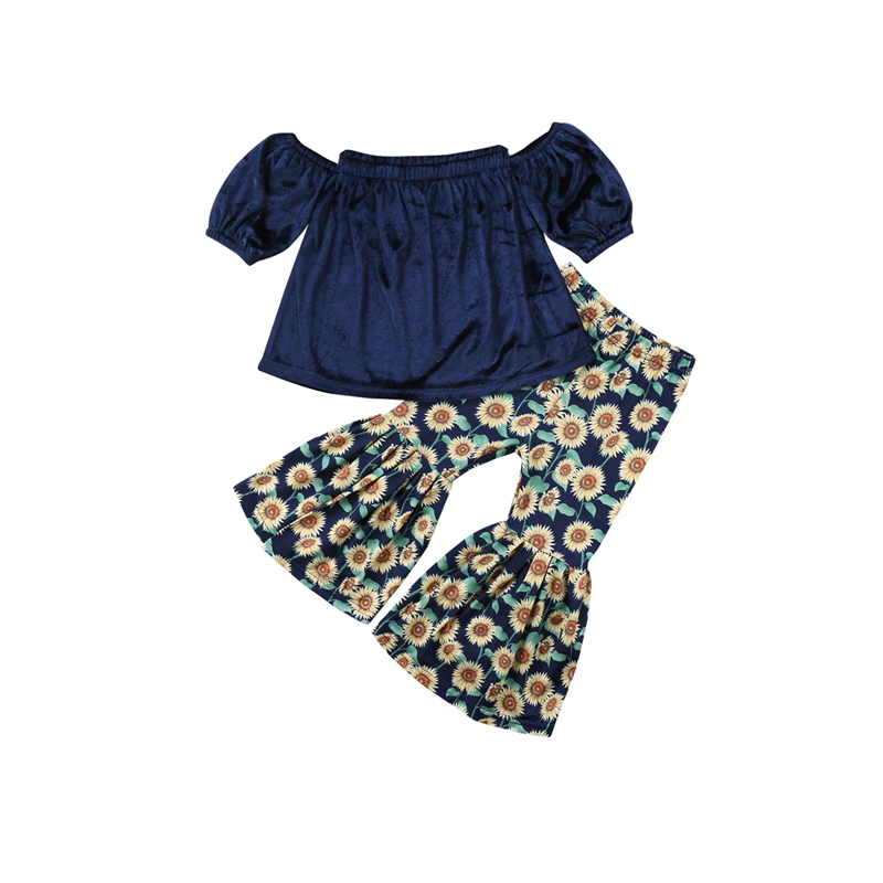 2PCS Fashion Newborn Infant Baby Girls Short Sleeve Off Shoulder Blue Velvet Shirt Tops Floral Print Flare Pants Outfit 1-6Y 2pcs children outfit clothes kids baby girl off shoulder cotton ruffled sleeve tops striped t shirt blue denim jeans sunsuit set