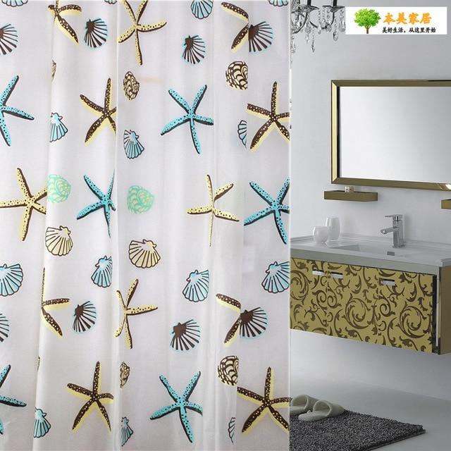 Hot Fashion Bathroom Shower Curtain Partition Starfish Waterproof Mildew  Thickening PEVA Environmental Protection Curtain
