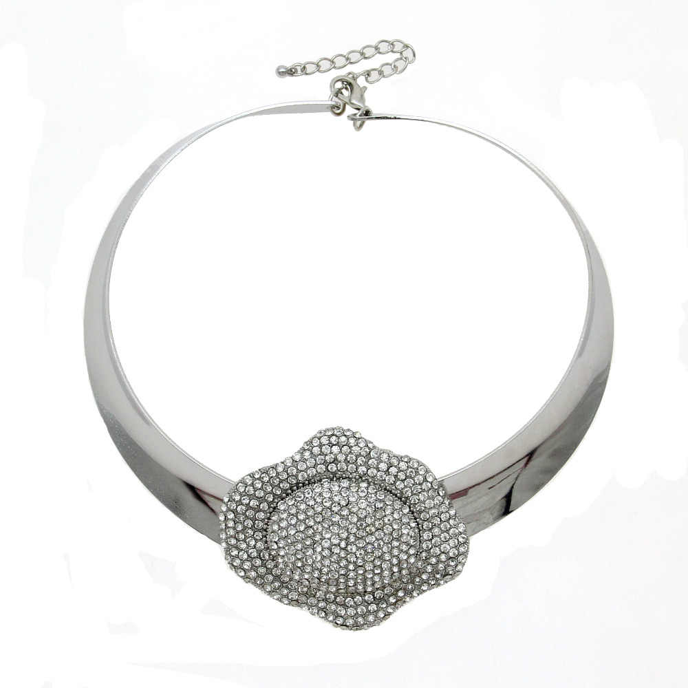 MANILAI Punk Rhinestone Flower Collar Choker Necklace Women Fashion Alloy Torques Bib Big Statement Necklaces Maxi Jewelry