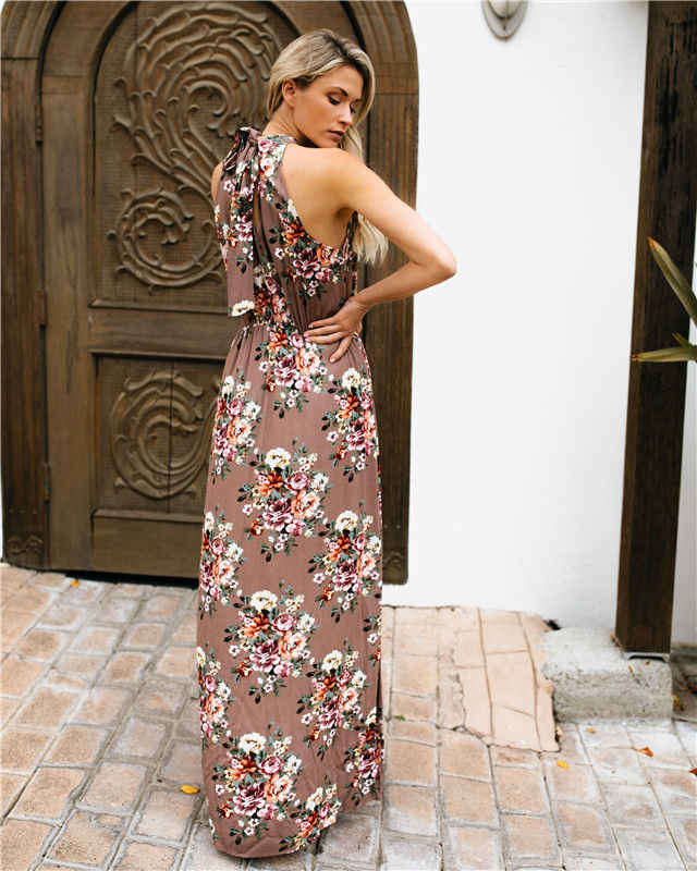58066248b70c ... Women Summer Boho Casual Long Maxi Evening Party Beach Dress Sundress  Halter Neck Smocked Waist Split ...