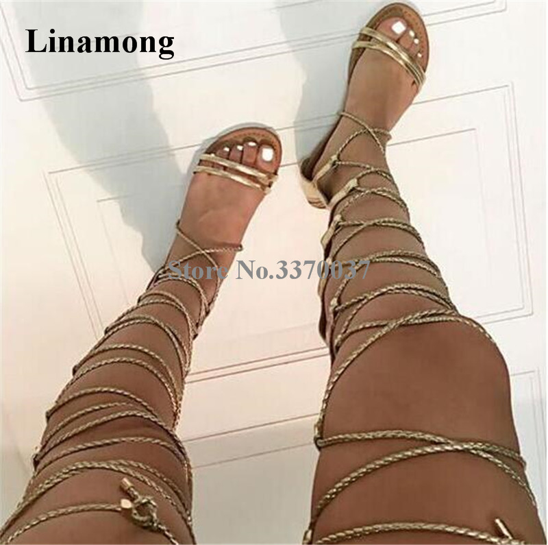 Women Summer Fashion Gold Rope Design Lace-up Gladiator Flat Boots Open Toe Straps Cross Over Knee Sandal Boots Flat Shoes trendy black and criss cross design flat shoes for women