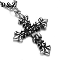 D Z Vintage Casting Titanium Stainless Steel Cross Crucifix Pendant Necklace For Religion Jewelry