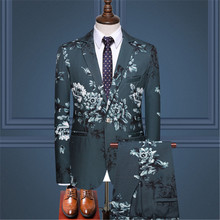 2019 spring printing suit men's business casual slim suit jacket + trousers two-piece men's fashion banquet ball gown suit suit suit lemoniade suit