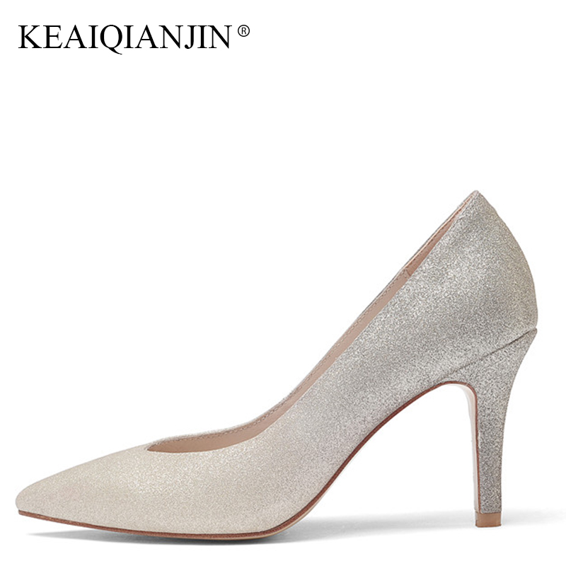 KEAIQIANJIN Woman Silvery Pink Pointed Toe Pumps Plus Size 40 High Heeled Shoes Fashion Spring Autumn Genuine Leather Pumps keaiqianjin woman butterfly knot genuine leather pumps plus size 33 43 blue high heels shoes spring square toe wedding pumps