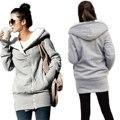 Zanzea 2017 hoodies de las mujeres abrigo largo invierno del otoño de lana caliente chaqueta de algodón con cremallera sólido ocasional prendas de vestir exteriores encapuchada más el tamaño