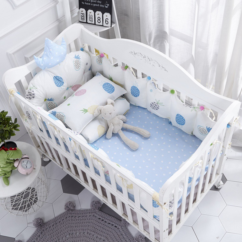 3 Cotton Crib Baby Bedding Nordic Style Children's Bumper Around Cot Removable And washable Baby Bed Protector Room Decoration