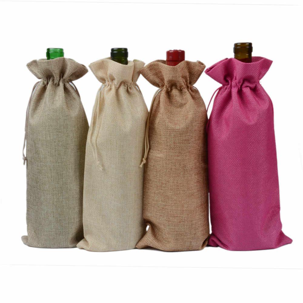 Eco Friendly Fabric Gift Wrap Wine Bottle Tote Burlap Wine Bottle Tote Spirits Gift Jute Wine Gift Wrap Reusable Burlap Gift Bag