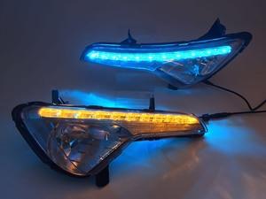 Image 5 - Reflektory samochodowe LED światło do jazdy dziennej DRL dla Kia Sportage 2010 2011 2012 2013 2014 pokrywa lampy przeciwmgielnej światło dzienne z żółty włączanie