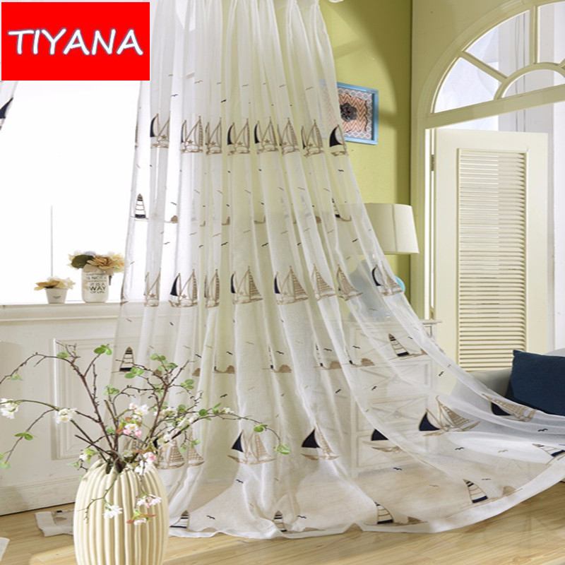Child Bedroom Cortinas Embroidered Sailboat Pattern Window Screening Tulle  For Baby Boys Room Customized Tulle Curtains AG103u002620