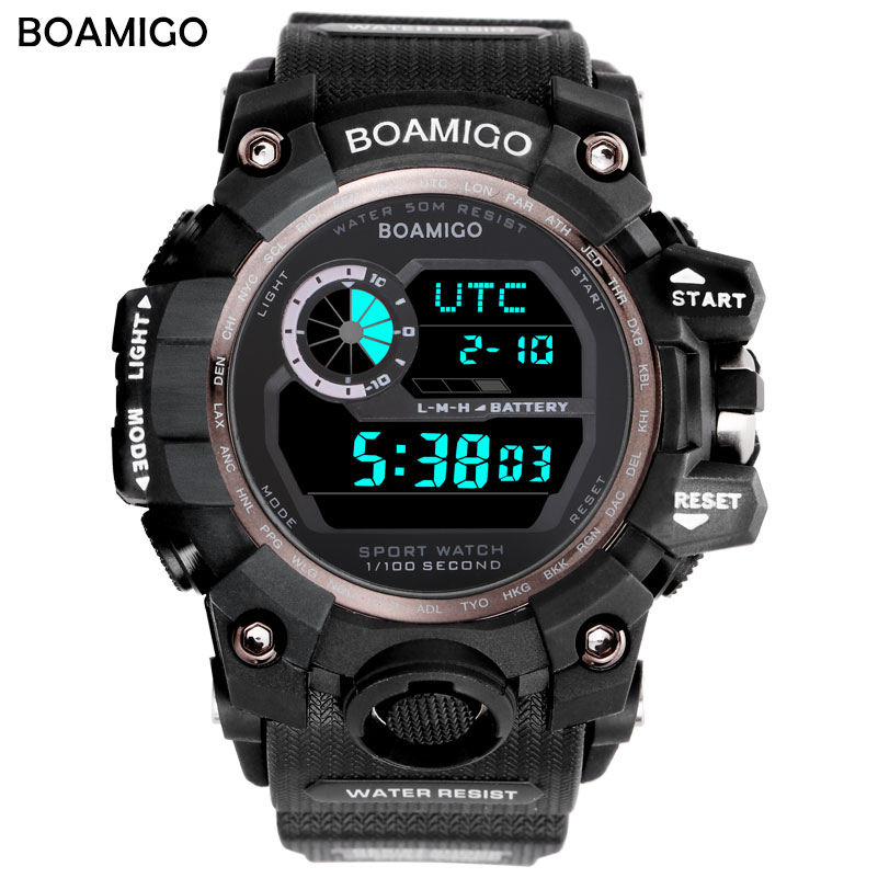 Sport Quartz Digital Watches Male Watch BOAMIGO Sport Watch for Men Waterproof Relojes Hombr Digital Army Military Watches Mens