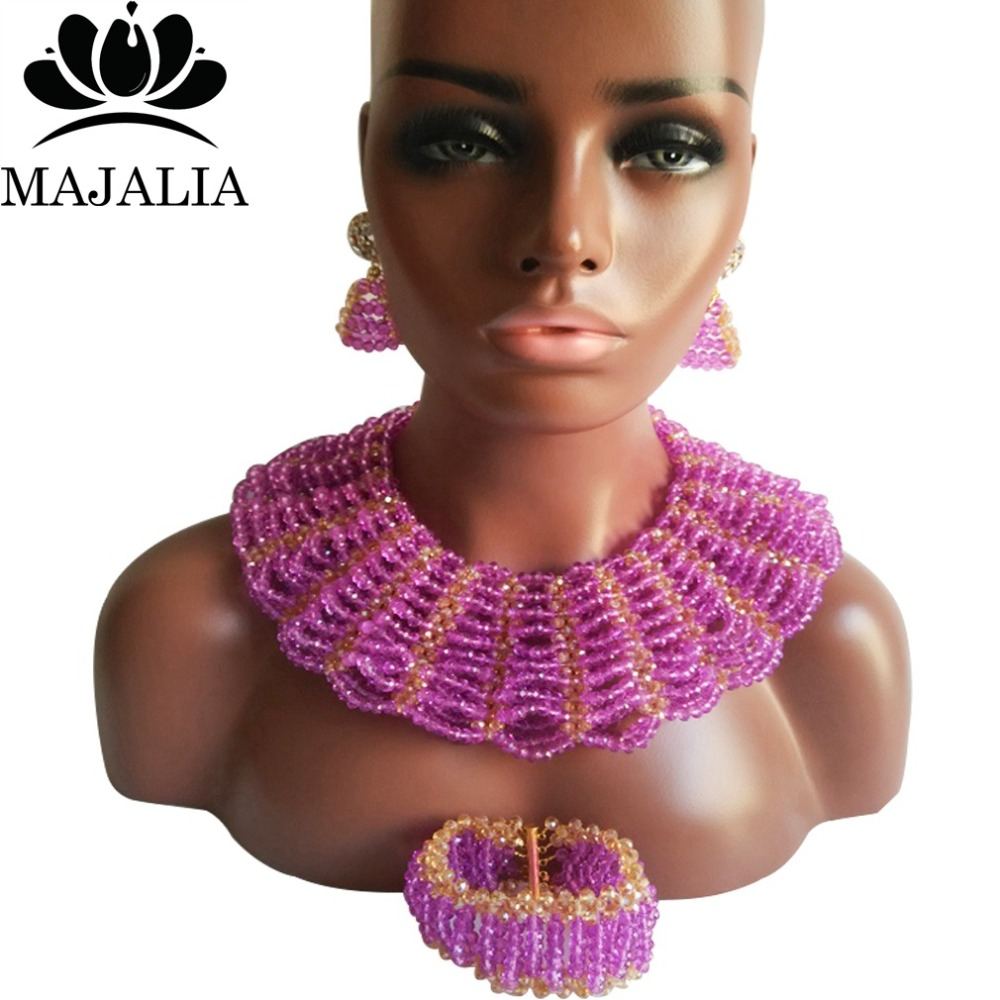 Majalia Classic Nigerian Wedding African Jewelry Set Pueple and Gold ab Crystal Necklace Bride Jewelry Sets 10SX003Majalia Classic Nigerian Wedding African Jewelry Set Pueple and Gold ab Crystal Necklace Bride Jewelry Sets 10SX003