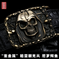 Skull carving punk strap quality brass buckle Harley rider Crocodile leather skin belt