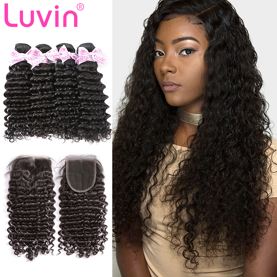 <font><b>Luvin</b></font> Malaysian Curly Hair 4 Bundles With Closure 100% Unprocessed Virgin Human Hair Weave Bundles With Lace Closure <font><b>Deep</b></font> <font><b>Wave</b></font> image