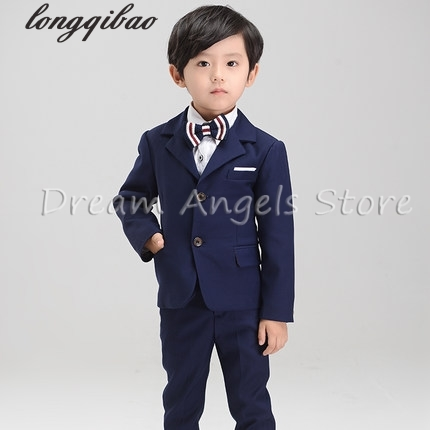 (Jackets+Pants+Bow Tie+Shirt) Boy Suits Flower girl Slim Fit Tuxedo Brand Fashion Bridegroon Dress Wedding blue Suits Blazer цены онлайн