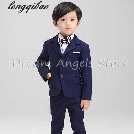 (Jackets+Pants+Bow Tie+Shirt) Boy Suits Flower girl Slim Fit Tuxedo Brand Fashion Bridegroon Dress Wedding blue Suits Blazer 1200g piece g cup 100