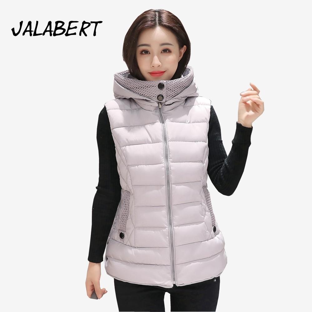 2017 autumn winter new cotton women long vests Female Slim warm large size cotton Hooded Solid jacket