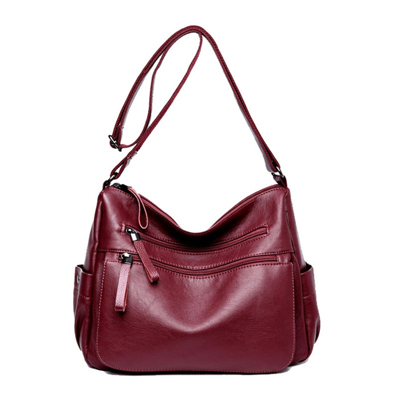 f0e2dd7735a17 الملاك أصوات العلامة التجارية جلد طبيعي المرأة حقيبة ساعي كبيرة جلد الغنم  حقيبة كتف المرأة Crossbody