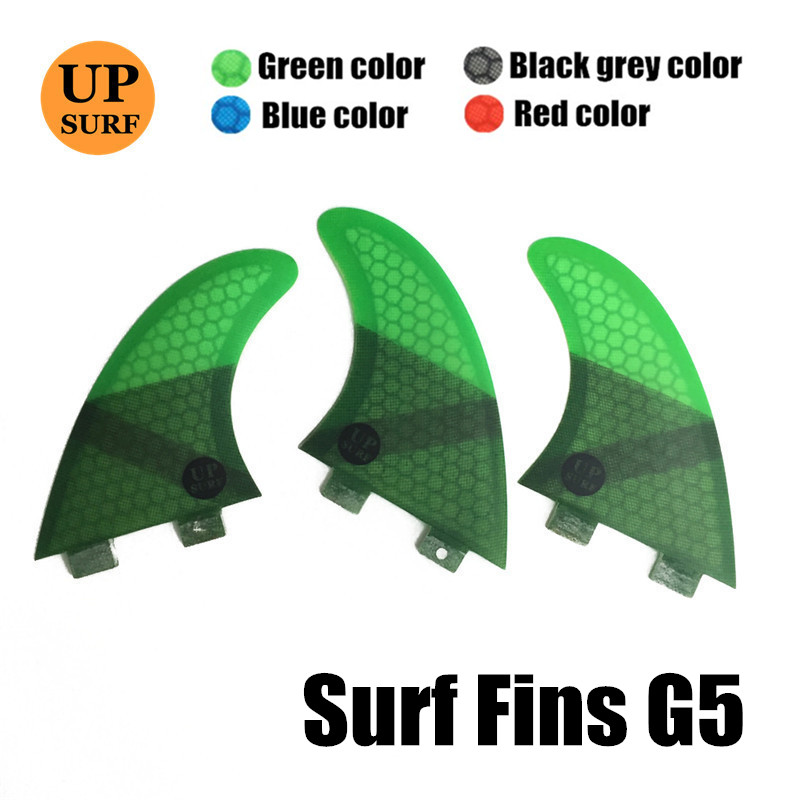 FCS FIN G5 Tri Fin Set FCS G5 M Size Honeycomb Fibreglass Green Black Red Blue Surfboard Fin