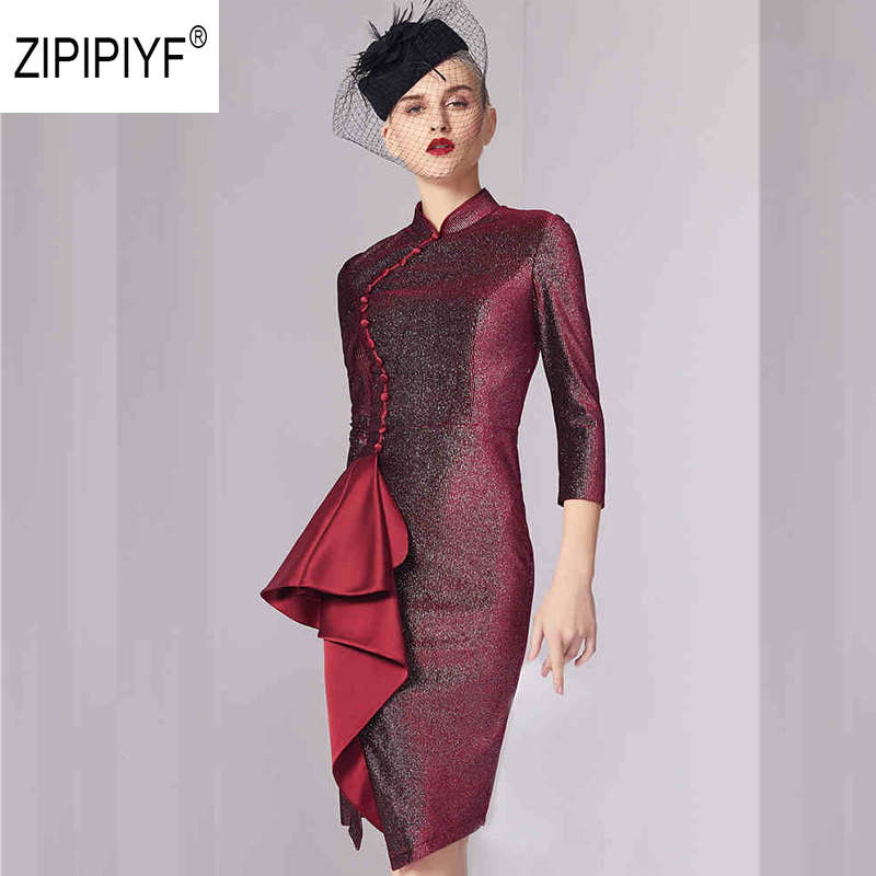 Sexy Ruches Mujer Robes Cheongsam Chinois 4 Manches Robe Col Femmes Ab156 Crayon 3 Stand Partie Bourgogne Shinny 5zwqz6B
