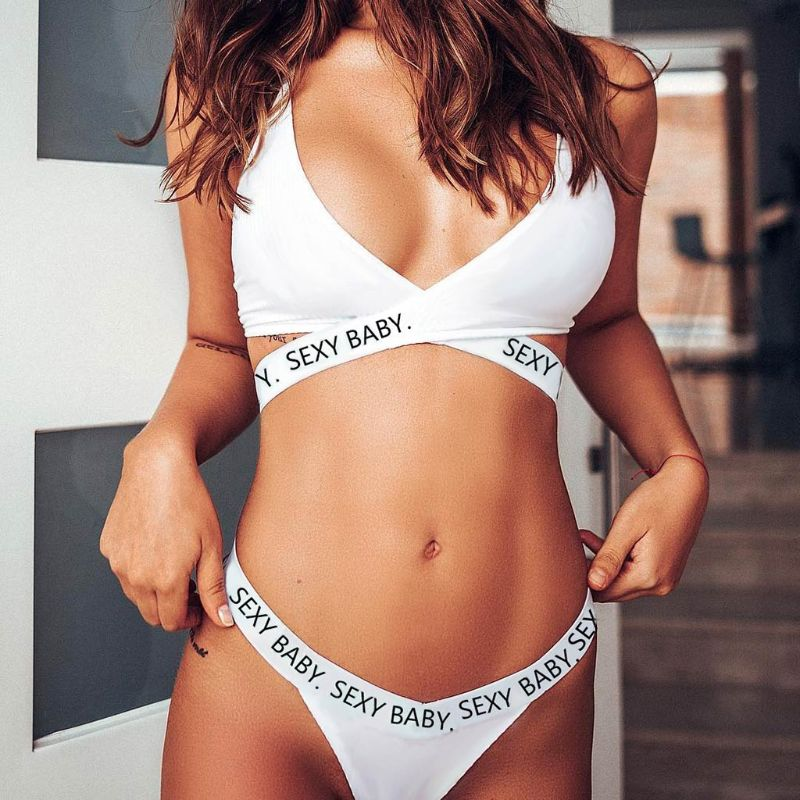 Womens Plus Size Bikini Set Letters Print Cross Strappy Bandage Underwear Solid Color Deep V Neck Bra High Cut G String Lingerie in Bikinis Set from Sports Entertainment