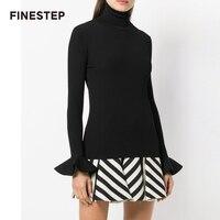 Роскошные свитера Для женщин Высококачественный свитер со вспышками рукавом свитера белый черный свитер Для женщин