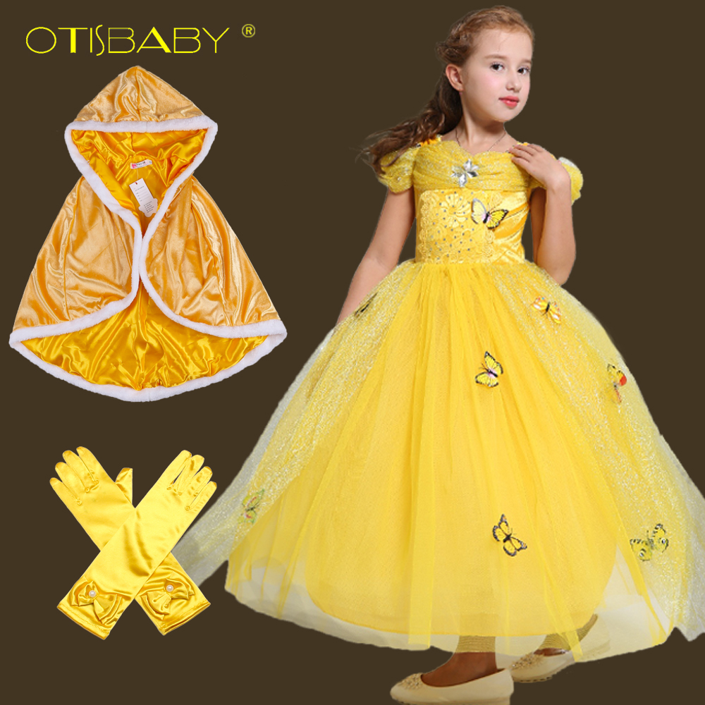 fa61d8d20902 New Year Beauty Belle Princess Dress for Girls Christmas Carnival Birthday  Party Prom Voile Dress With