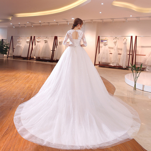 Image 2 - DHL Long Train Half Sleeve Embroidery Lace Wedding Dress 2020 New Arrival Sweep Brush Train Princess bride Gown Vestido De Noiva