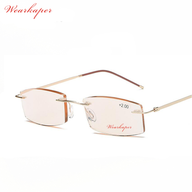 39f63731306 WEARKAPER Titanium Alloy Anti Blue Rays Tinted Lenses Computer Rimless  Reading Glasses Men Women Diopter Presbyopic Eyeglasses