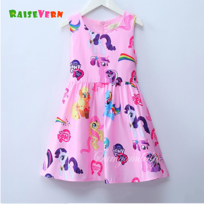 2018 Girls Summer Little Pony Printed Dresses Children Sleeveless Princess Dress Kids Casual Clothing Tollders Outfits