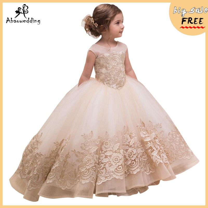 fancy little girls party dress with bow champagne girls dress vestidos menina de fiesta para nina