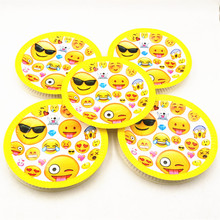 10pcs/set 7inch Party Lovely Smiling Face Emoji Cartoon Plate Theme Baby Shower Kids Birthday Supplies