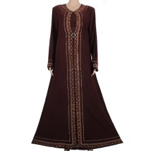 Muslim Abaya Kaftan Islamic Clothing for Women Beading Design Turkish Maxi Abaya in Dubai Kaftan Dress Rose Coffee 1258