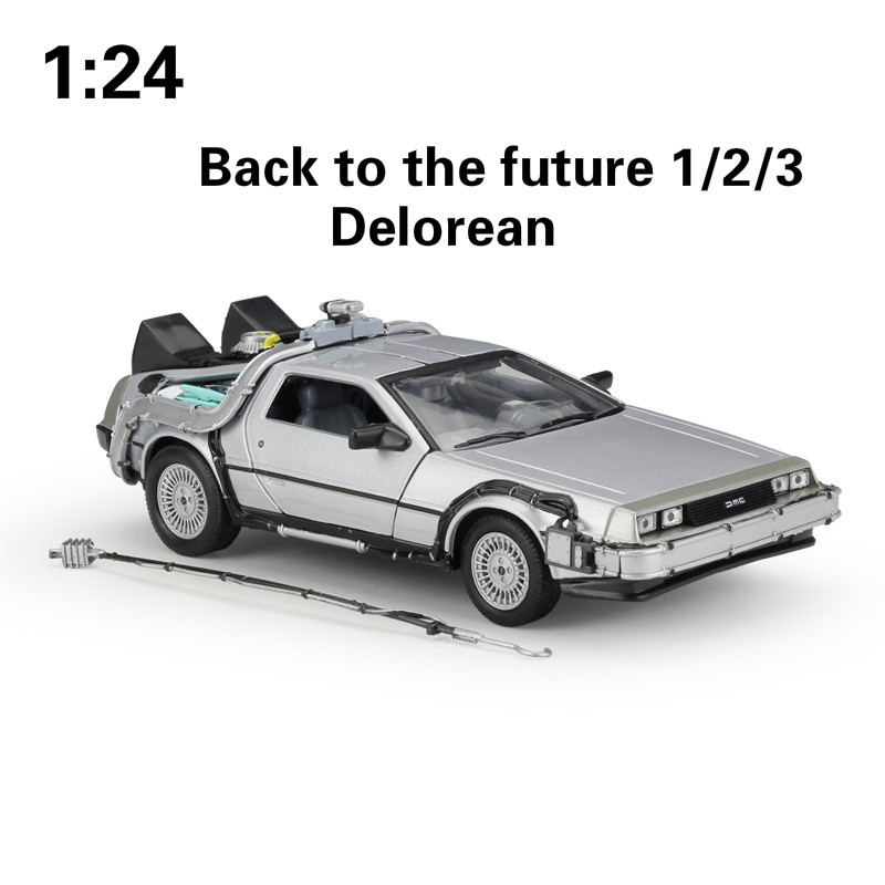 WELLY 1:24 Alloy Classic Diecast Car delorean Back to The Future part 1/2/3 DMC-12 Metal Model Toy Car For Kids Gifts CollectionWELLY 1:24 Alloy Classic Diecast Car delorean Back to The Future part 1/2/3 DMC-12 Metal Model Toy Car For Kids Gifts Collection