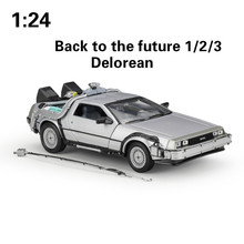 цена на WELLY 1:24 Alloy Classic Diecast Car delorean Back to The Future part 1/2/3 DMC-12 Metal Model Toy Car For Kids Gifts Collection