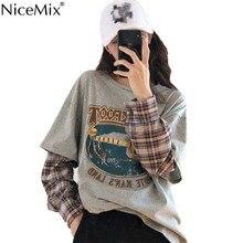 NiceMix Spring Harajuku T-shirt Women Patchwork Fake 2 Pieces Print Long Sleeve Plaid TShirt Korean Streetwear Pull Femme Jersey